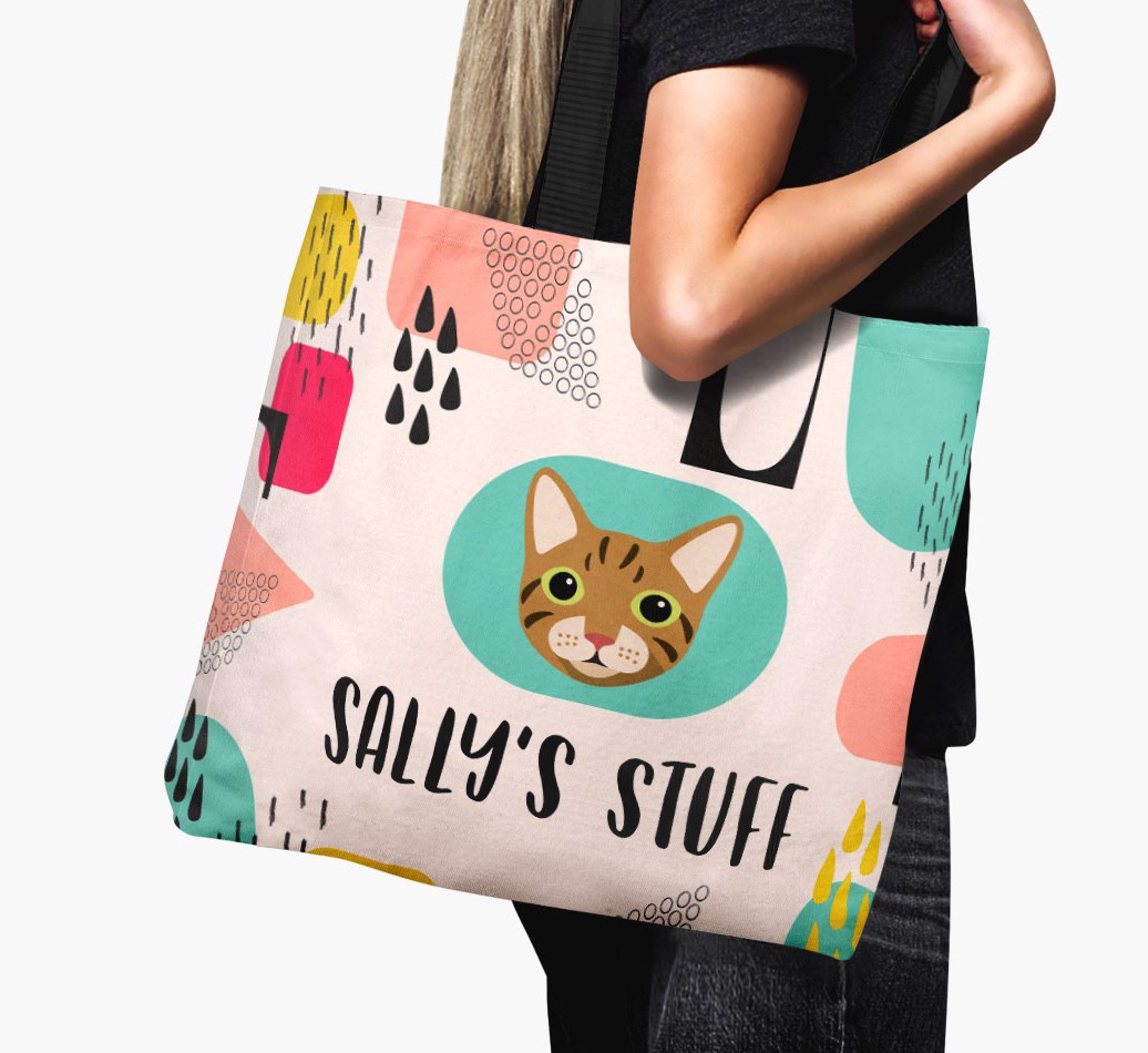 Personalized Canvas Bag featuring your Cat's icon and name