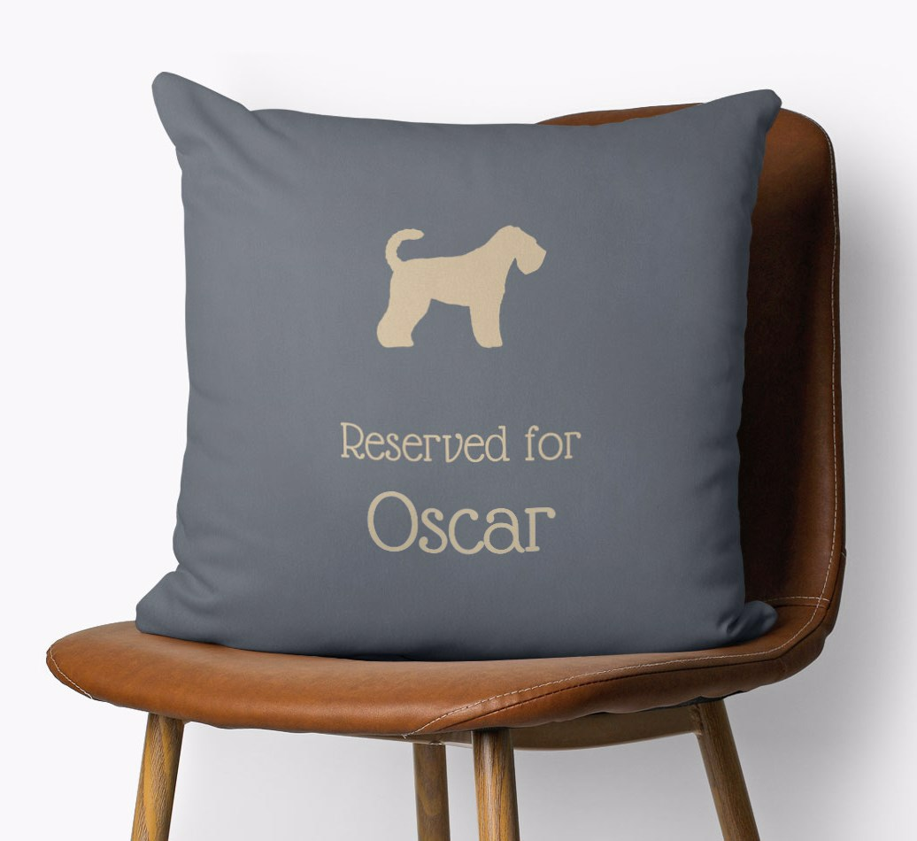 Personalised Reserved Dog Name Cushion with a Breed Silhouette